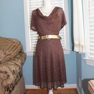 Dresses & Skirts - 💖Brown crochet metallic dress NWT💖